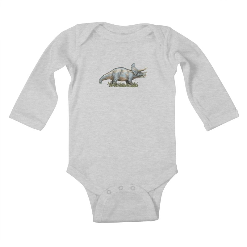 BEHOLD! THE TRICERATOPS! Kids Baby Longsleeve Bodysuit by Dustin Harbin's Sweet T's!