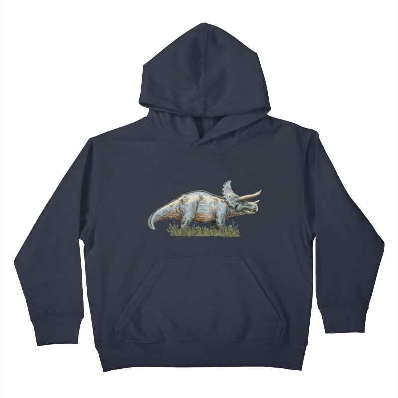 BEHOLD! THE TRICERATOPS! Kids Pullover Hoody by Dustin Harbin's Sweet T's!