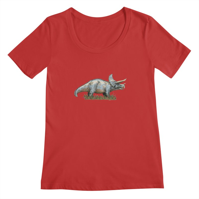BEHOLD! THE TRICERATOPS! Women's Scoopneck by Dustin Harbin's Sweet T's!