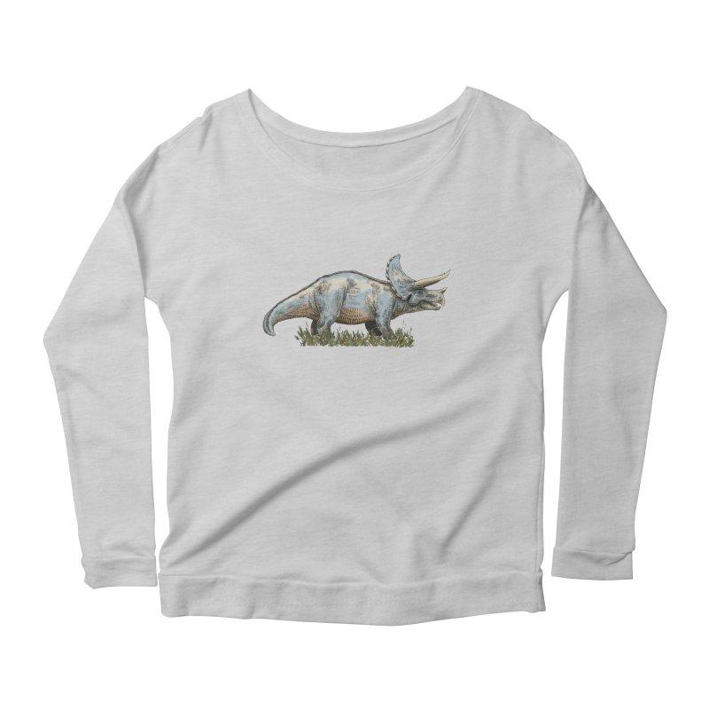 BEHOLD! THE TRICERATOPS! Women's Scoop Neck Longsleeve T-Shirt by Dustin Harbin's Sweet T's!