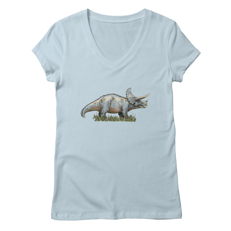 BEHOLD! THE TRICERATOPS! Women's V-Neck by Dustin Harbin's Sweet T's!