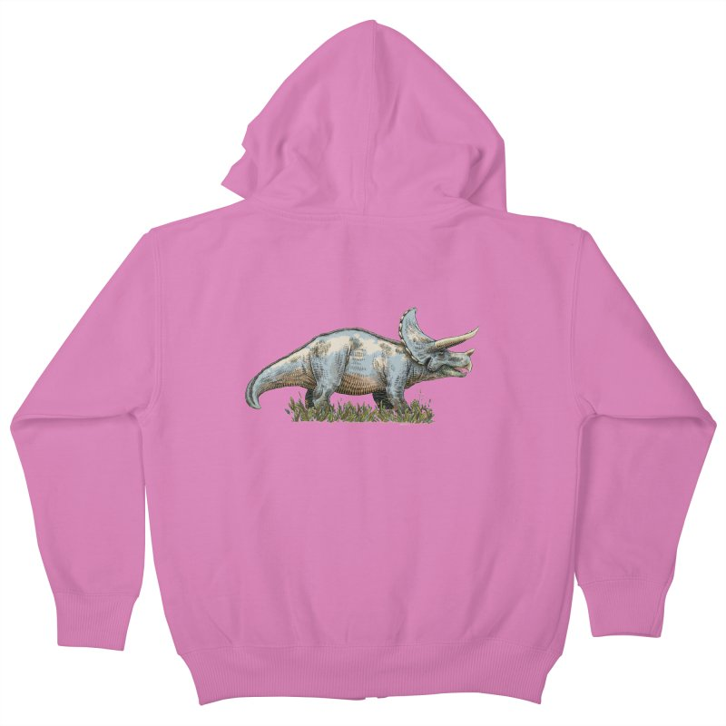 BEHOLD! THE TRICERATOPS! Kids Zip-Up Hoody by Dustin Harbin's Sweet T's!