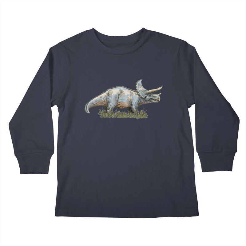 BEHOLD! THE TRICERATOPS! Kids Longsleeve T-Shirt by Dustin Harbin's Sweet T's!