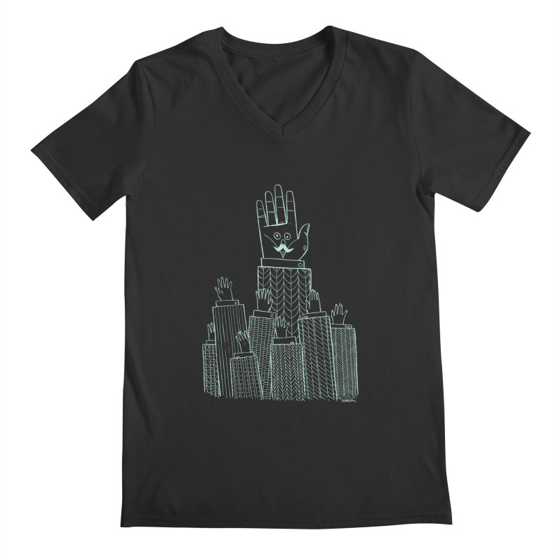 I'M HERE!! (Light Ink For Dark Shirts) Men's Regular V-Neck by Dustin Harbin's Sweet T's!