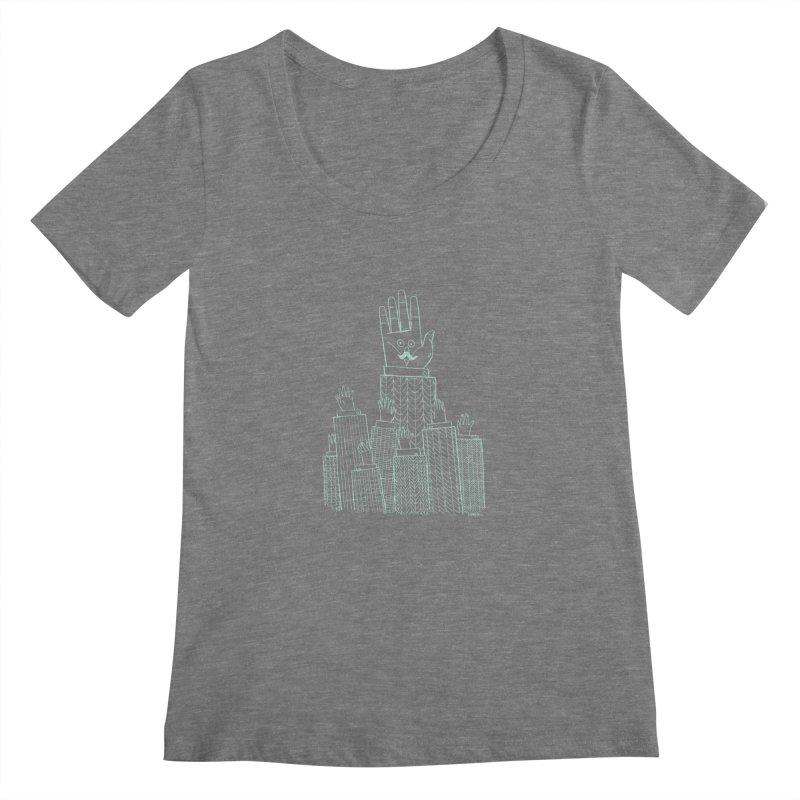 I'M HERE!! (Light Ink For Dark Shirts) Women's Scoopneck by Dustin Harbin's Sweet T's!