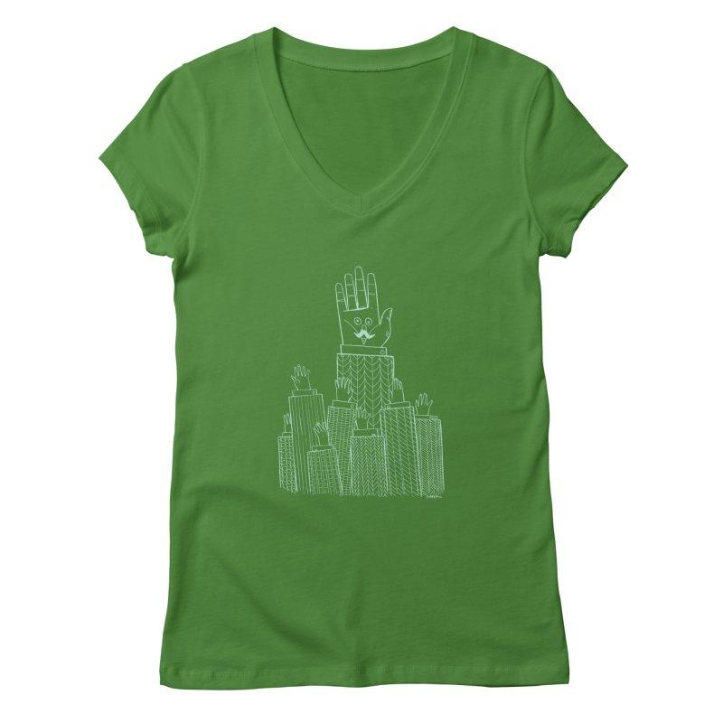I'M HERE!! (Light Ink For Dark Shirts) Women's Regular V-Neck by Dustin Harbin's Sweet T's!