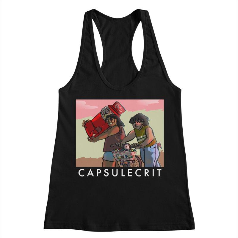 CapsuleCrit by Gaby Aveiro (White Logo) Women's Racerback Tank by Dia Lacina