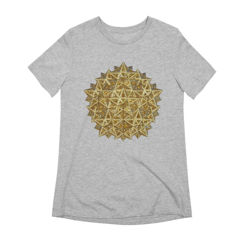14 Stellated Dodecahedrons Gold Women's Extra Soft T-Shirt by diamondheart's Artist Shop