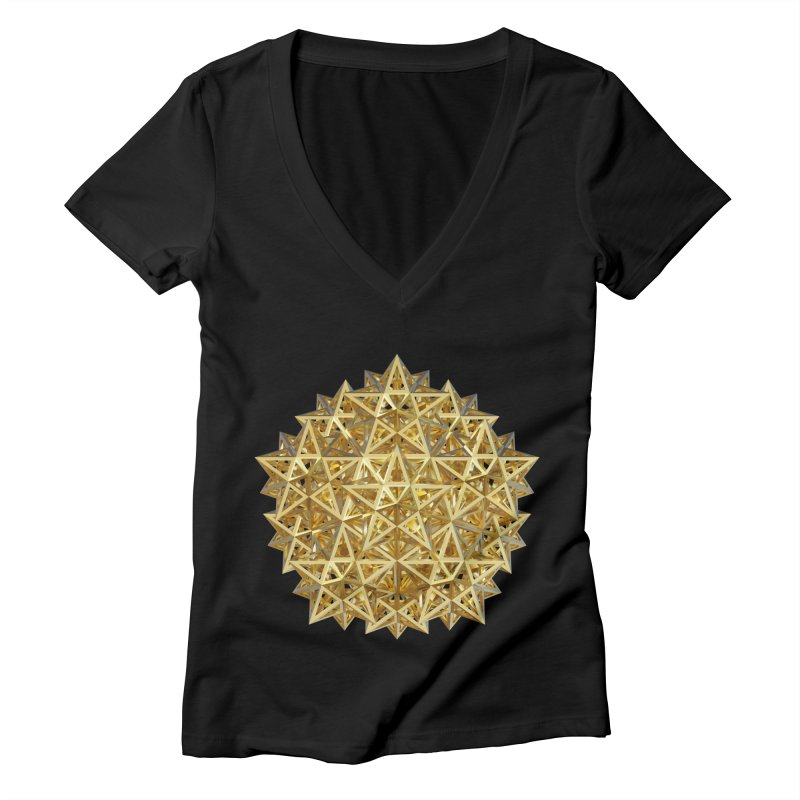 14 Stellated Dodecahedrons Gold Women's V-Neck by diamondheart's Artist Shop