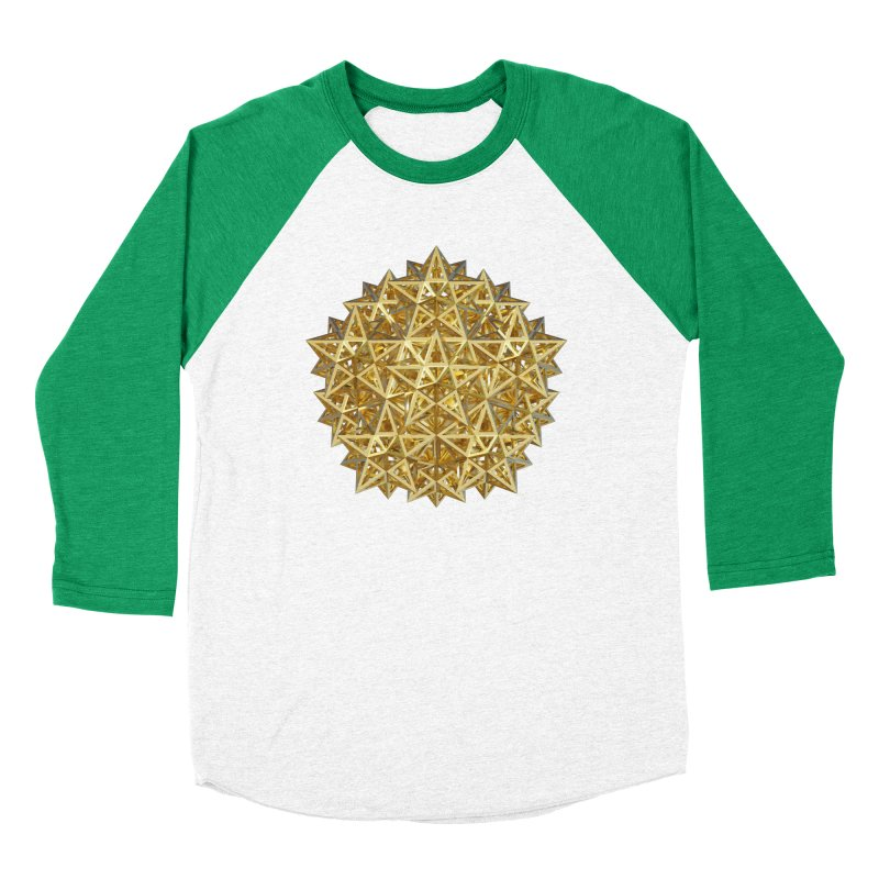 14 Stellated Dodecahedrons Gold Women's Baseball Triblend Longsleeve T-Shirt by diamondheart's Artist Shop