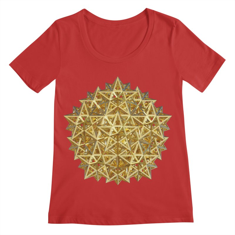 14 Stellated Dodecahedrons Gold Women's Regular Scoop Neck by diamondheart's Artist Shop