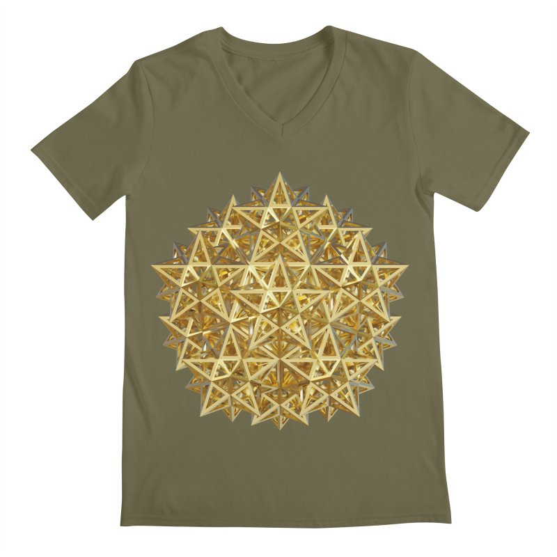14 Stellated Dodecahedrons Gold Men's Regular V-Neck by diamondheart's Artist Shop