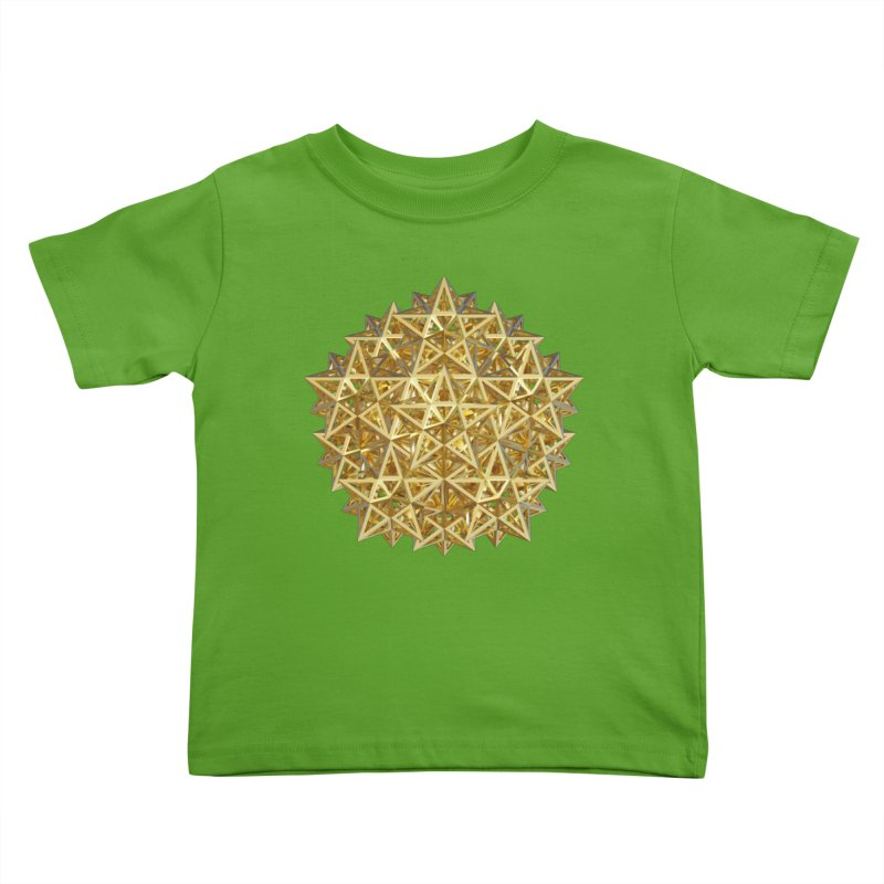 14 Stellated Dodecahedrons Gold Kids Toddler T-Shirt by diamondheart's Artist Shop