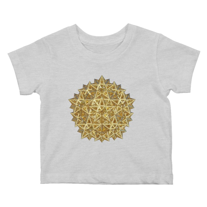 14 Stellated Dodecahedrons Gold Kids Baby T-Shirt by diamondheart's Artist Shop