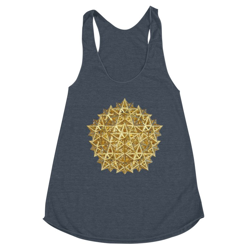 14 Stellated Dodecahedrons Gold Women's Racerback Triblend Tank by diamondheart's Artist Shop