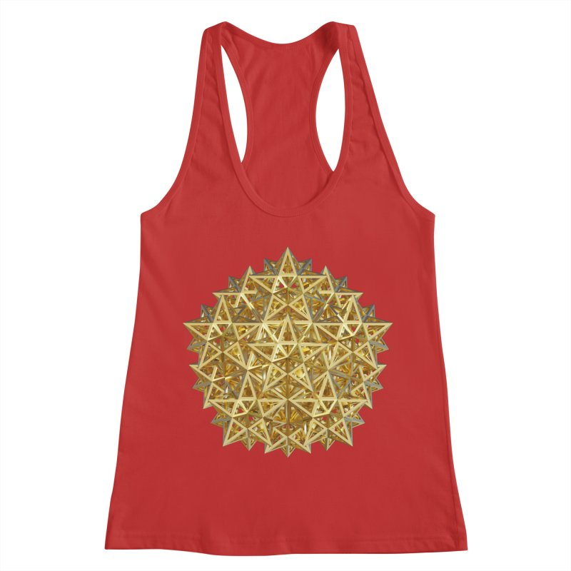 14 Stellated Dodecahedrons Gold Women's Racerback Tank by diamondheart's Artist Shop