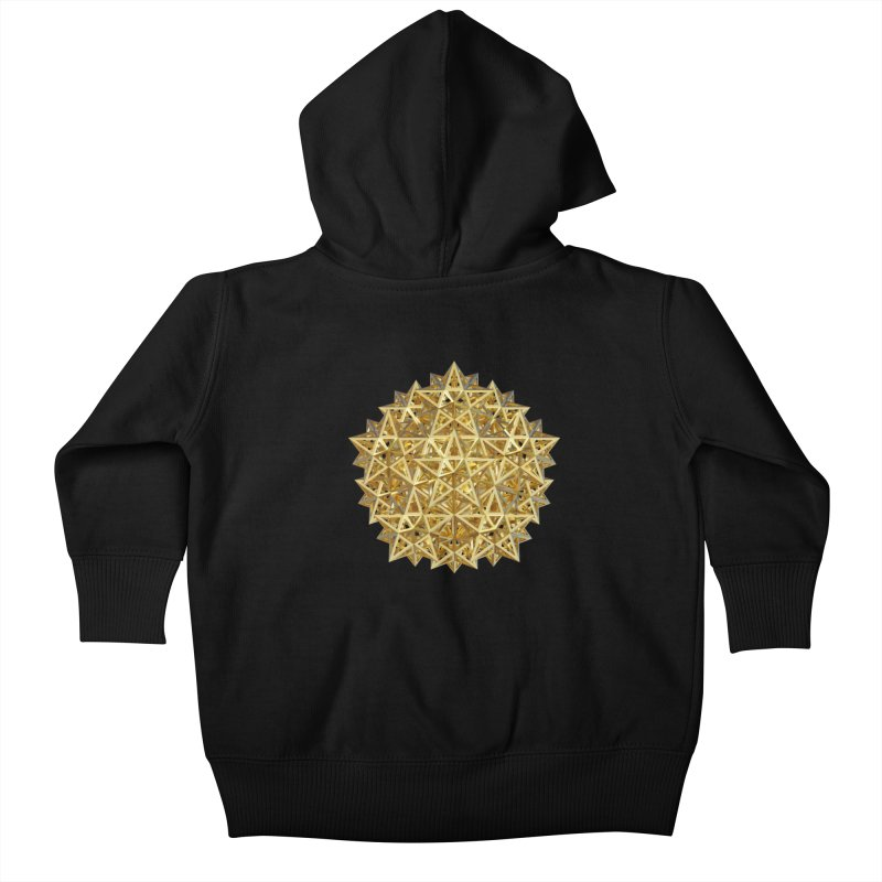 14 Stellated Dodecahedrons Gold Kids Baby Zip-Up Hoody by diamondheart's Artist Shop