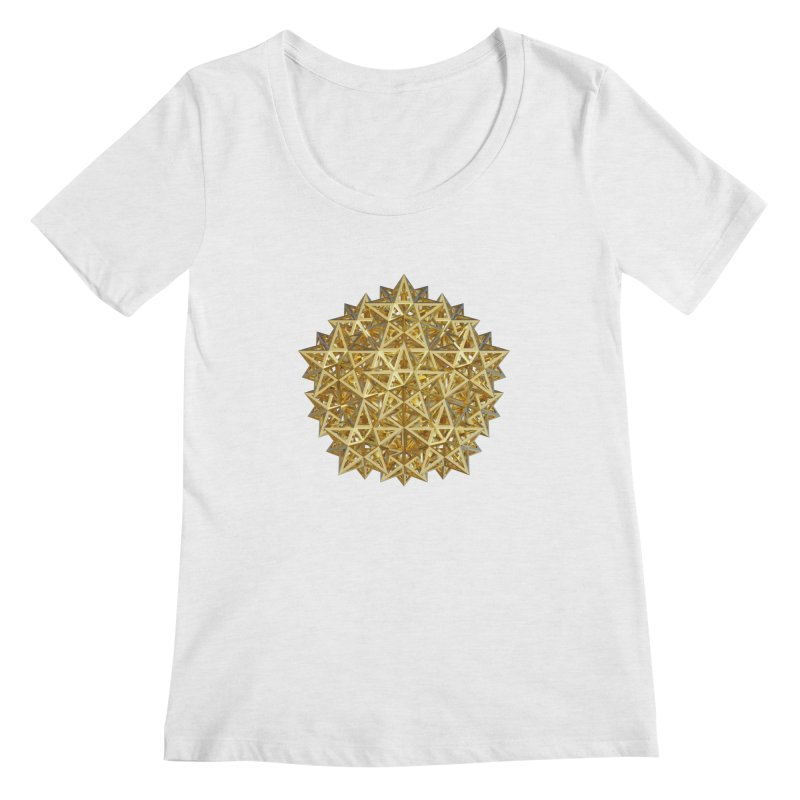 14 Stellated Dodecahedrons Gold Women's Scoop Neck by diamondheart's Artist Shop