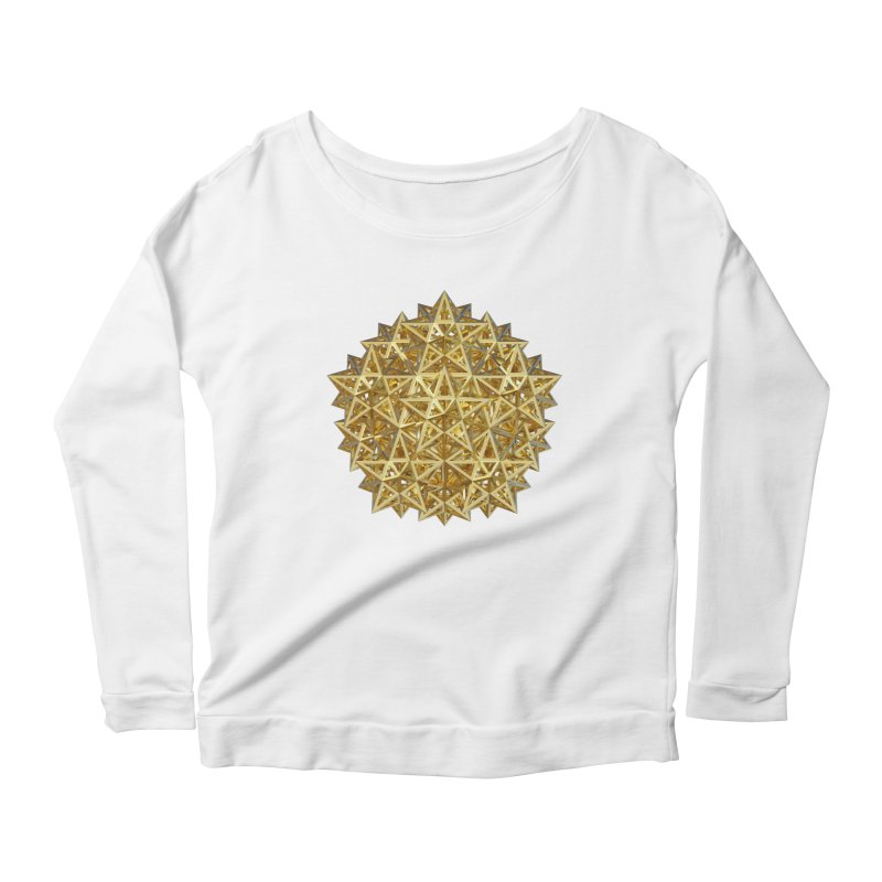 14 Stellated Dodecahedrons Gold Women's Scoop Neck Longsleeve T-Shirt by diamondheart's Artist Shop
