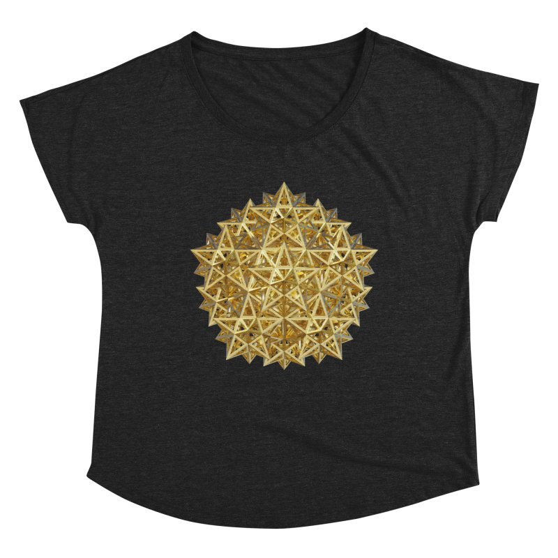 14 Stellated Dodecahedrons Gold Women's Dolman Scoop Neck by diamondheart's Artist Shop