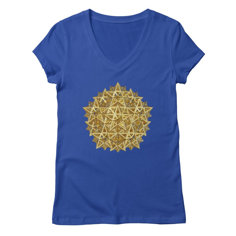 14 Stellated Dodecahedrons Gold Women's Regular V-Neck by diamondheart's Artist Shop