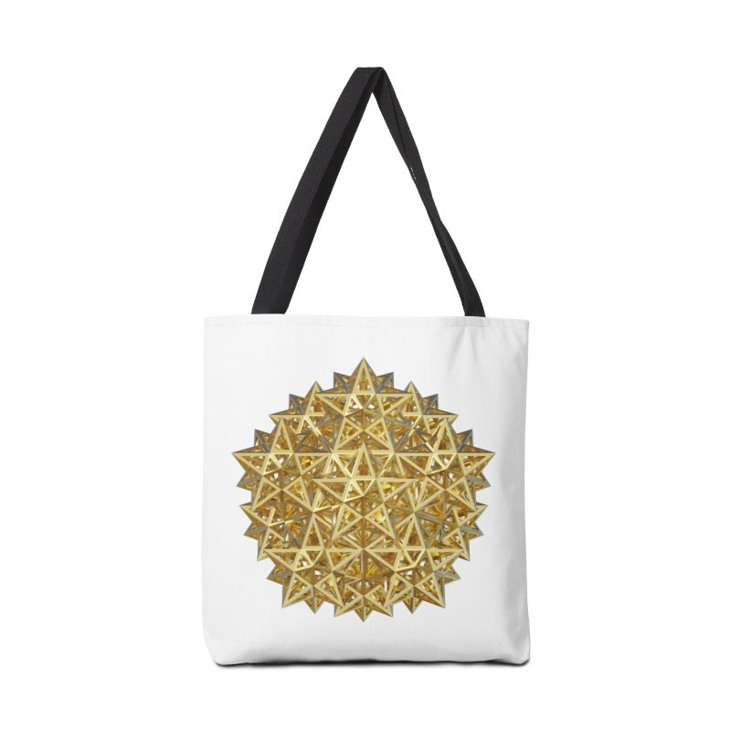 14 Stellated Dodecahedrons Gold Accessories Tote Bag Bag by diamondheart's Artist Shop