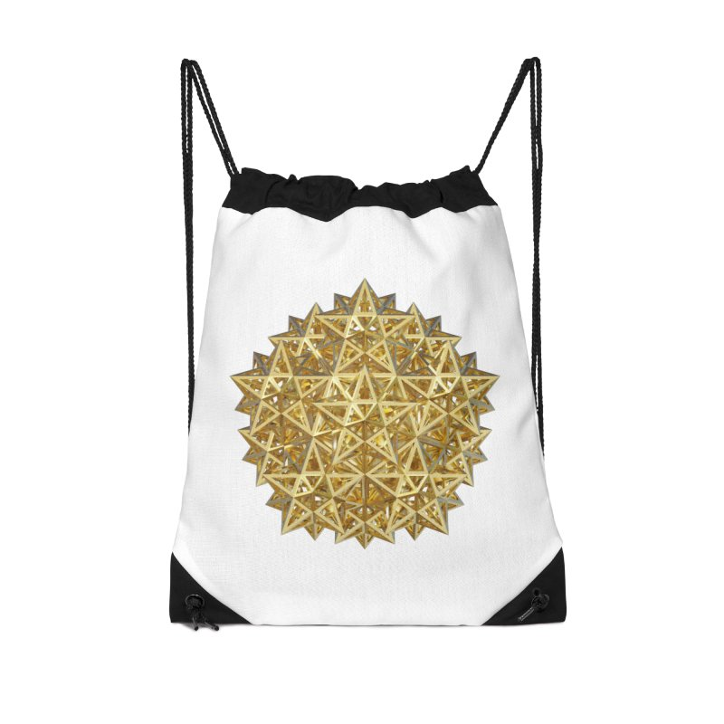 14 Stellated Dodecahedrons Gold Accessories Drawstring Bag Bag by diamondheart's Artist Shop