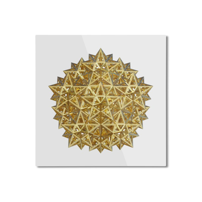 14 Stellated Dodecahedrons Gold Home Mounted Aluminum Print by diamondheart's Artist Shop