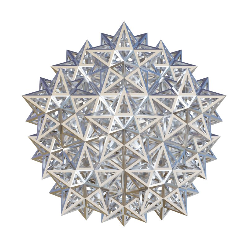 14 Stellated Dodecahedrons Silver Home Fine Art Print by diamondheart's Artist Shop
