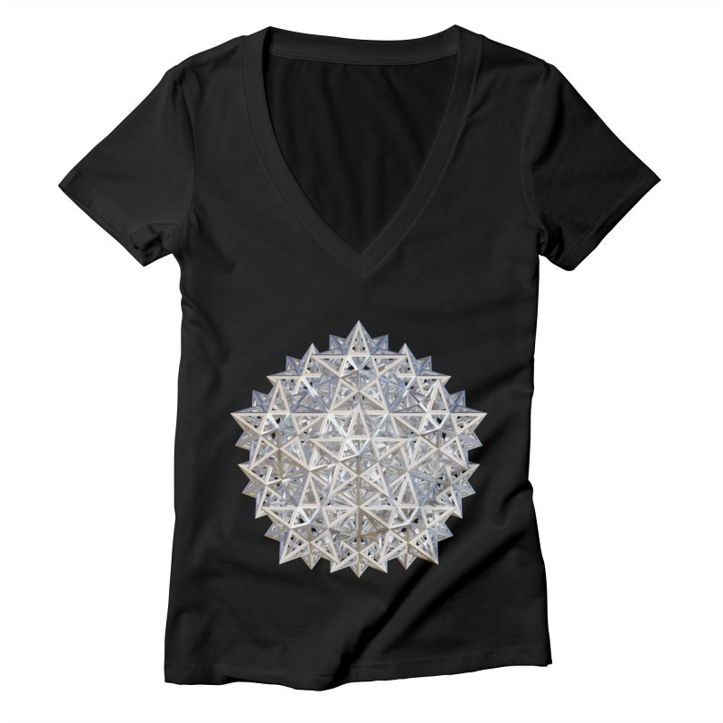 14 Stellated Dodecahedrons Silver Women's Deep V-Neck V-Neck by diamondheart's Artist Shop