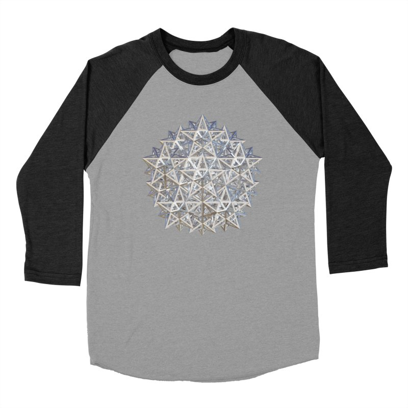 14 Stellated Dodecahedrons Silver Men's Baseball Triblend Longsleeve T-Shirt by diamondheart's Artist Shop