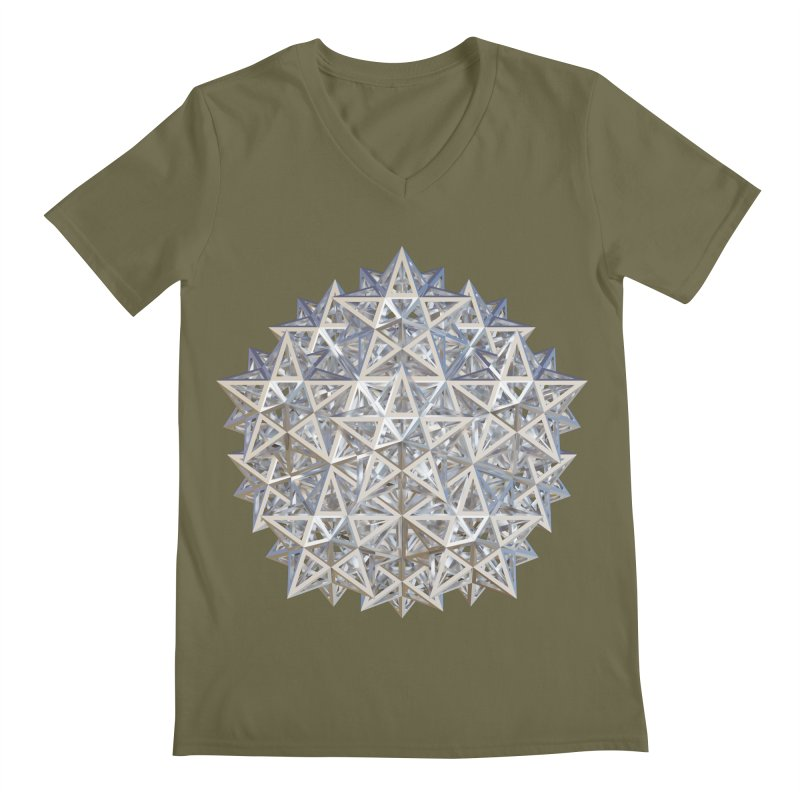 14 Stellated Dodecahedrons Silver Men's Regular V-Neck by diamondheart's Artist Shop