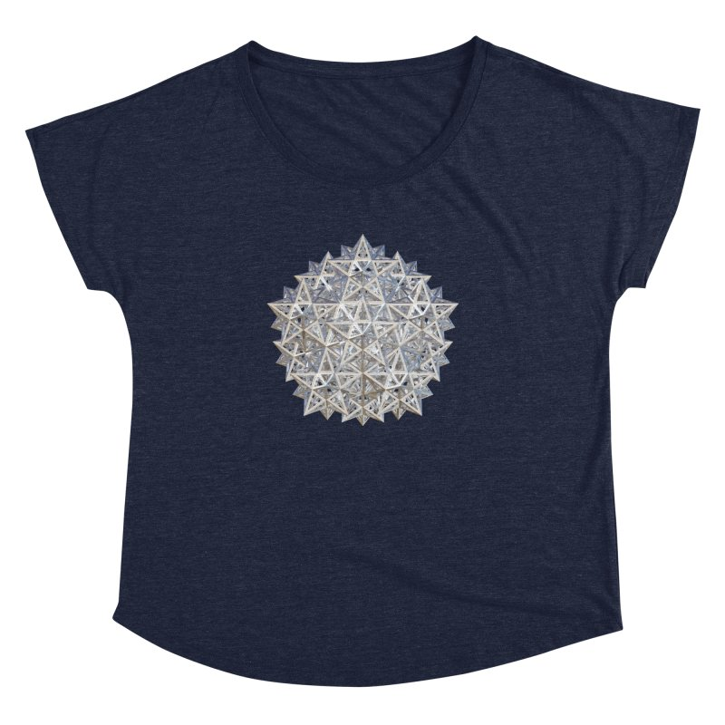 14 Stellated Dodecahedrons Silver Women's Dolman Scoop Neck by diamondheart's Artist Shop