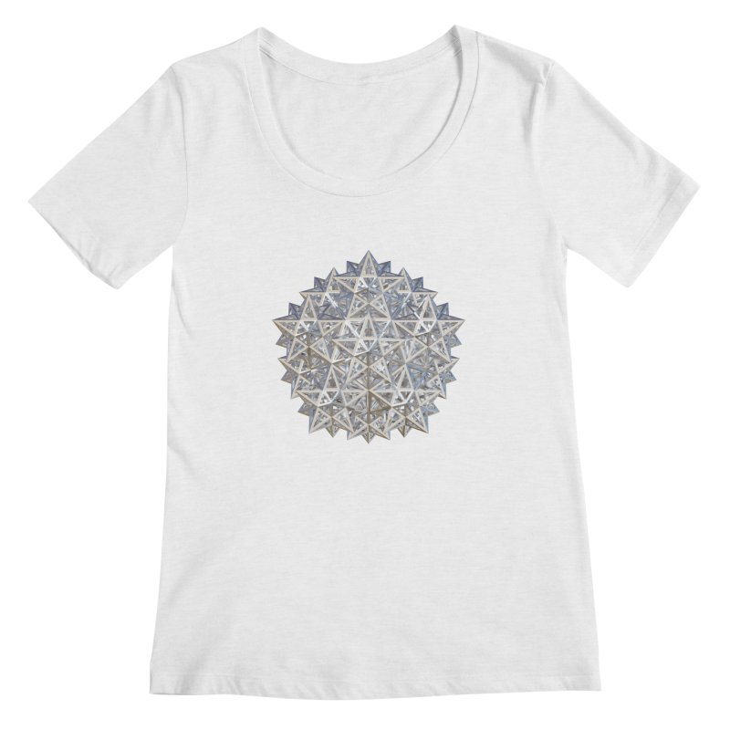 14 Stellated Dodecahedrons Silver Women's Scoop Neck by diamondheart's Artist Shop