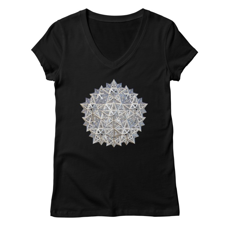 14 Stellated Dodecahedrons Silver Women's Regular V-Neck by diamondheart's Artist Shop