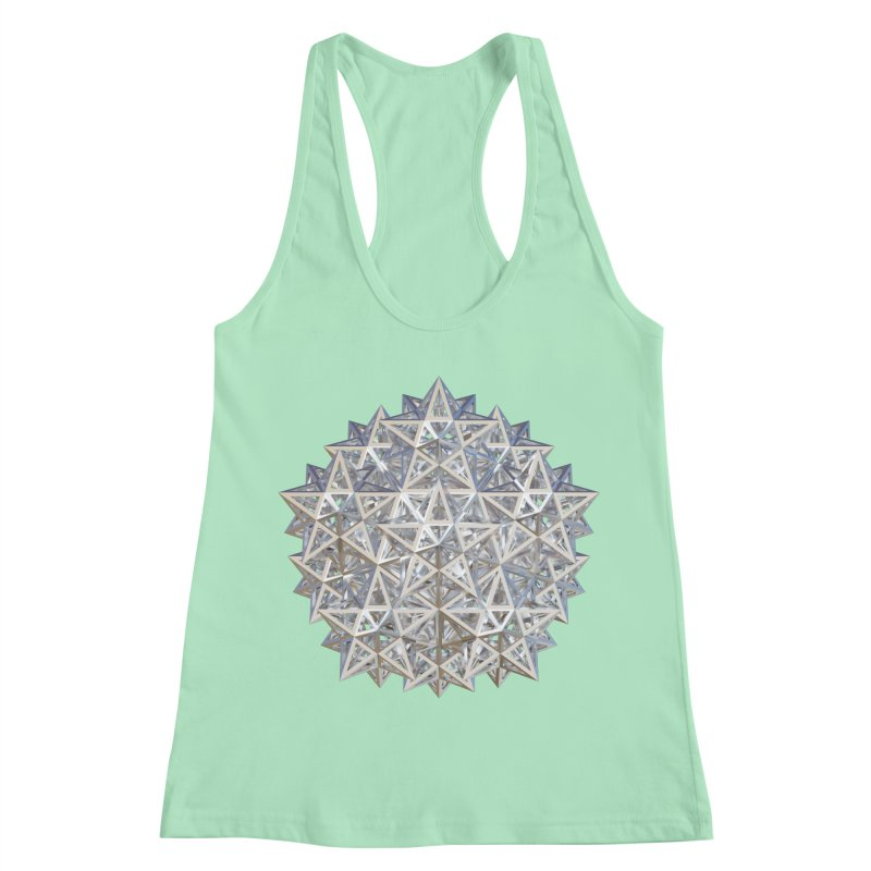 14 Stellated Dodecahedrons Silver Women's Racerback Tank by diamondheart's Artist Shop