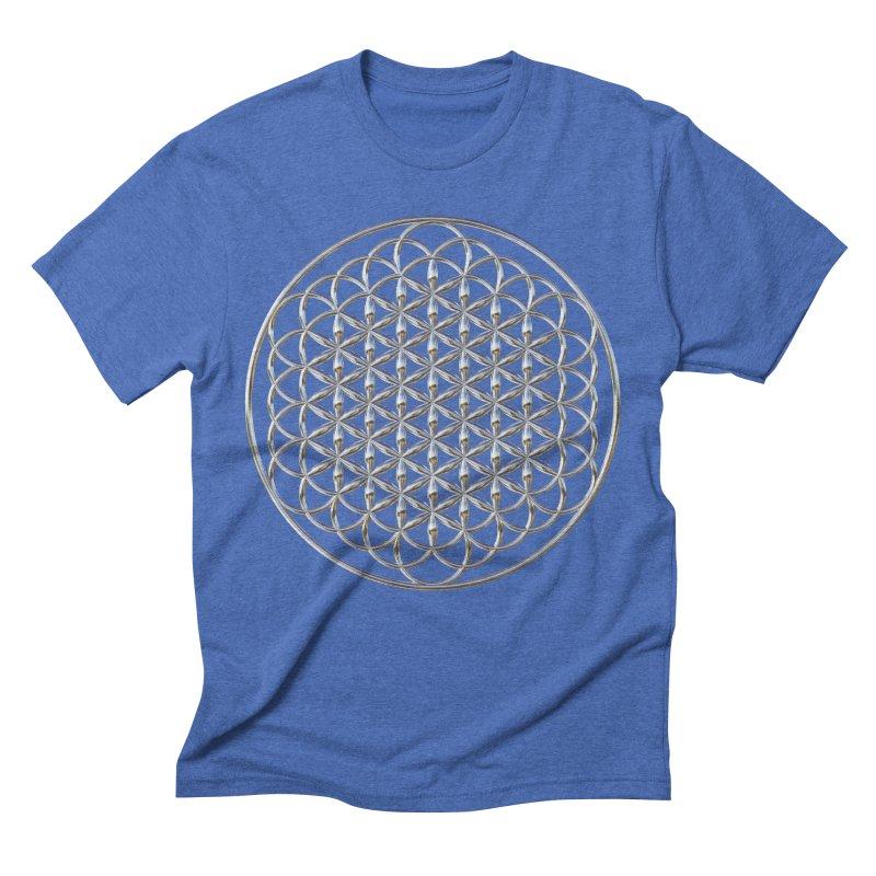 Extended Flower of Life Silver Men's T-Shirt by diamondheart's Artist Shop