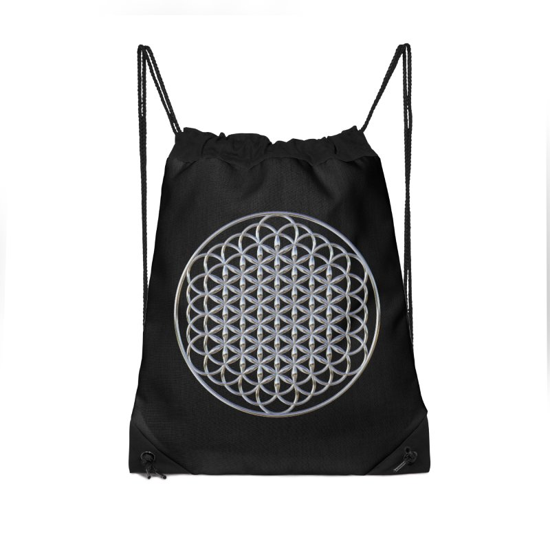 Extended Flower of Life Silver Accessories Drawstring Bag Bag by diamondheart's Artist Shop
