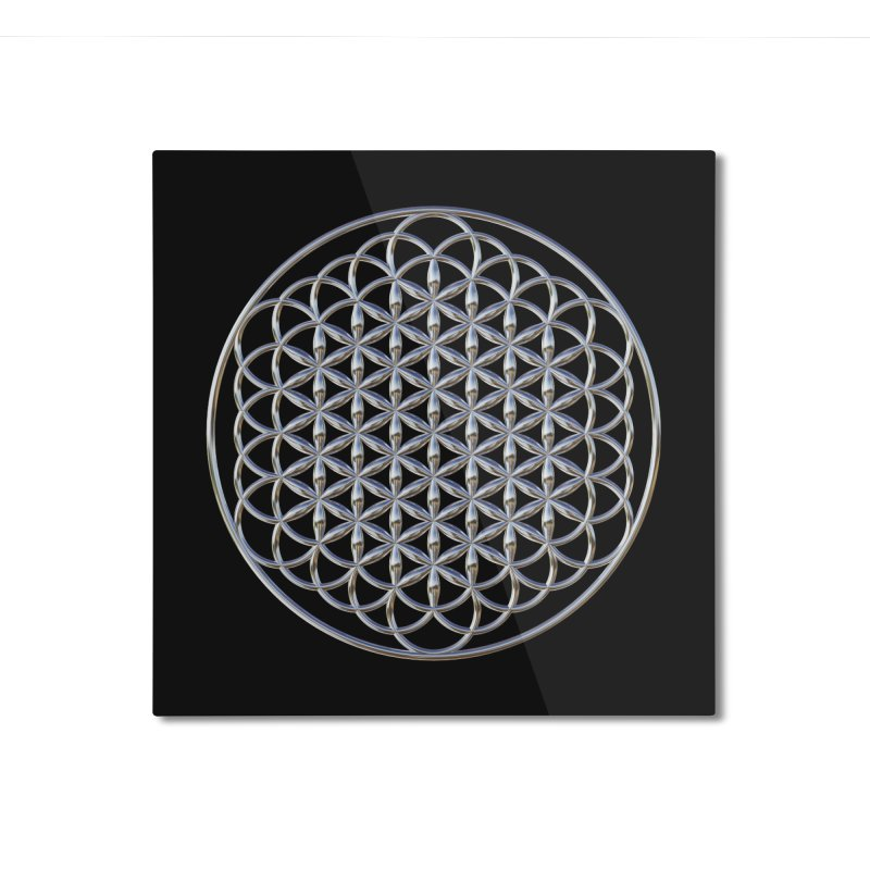 Extended Flower of Life Silver Home Mounted Aluminum Print by diamondheart's Artist Shop