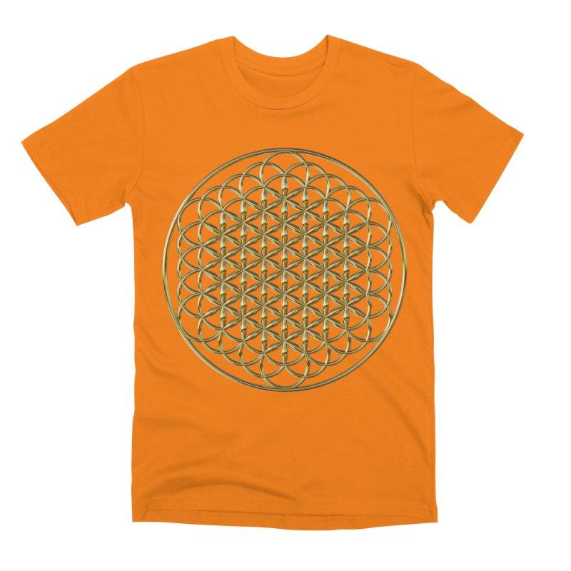 Extended Flower of Life Gold Men's Premium T-Shirt by diamondheart's Artist Shop