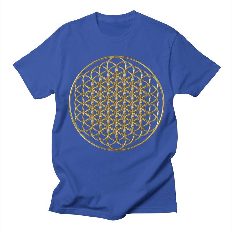 Extended Flower of Life Gold Men's Regular T-Shirt by diamondheart's Artist Shop