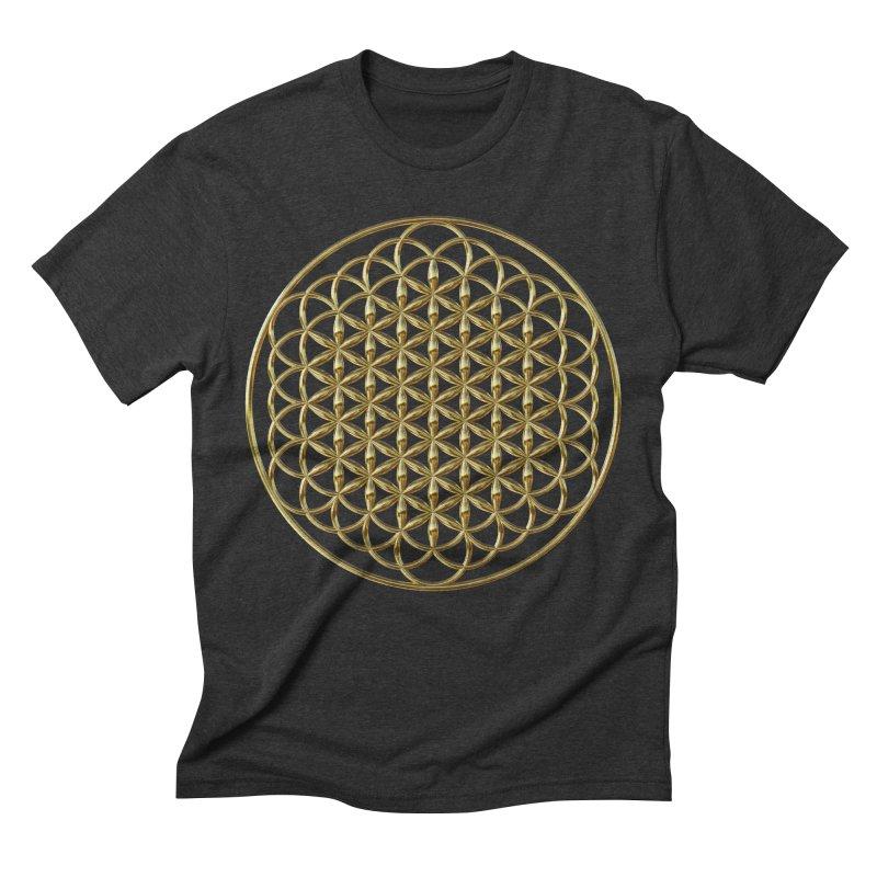 Extended Flower of Life Gold Men's Triblend T-Shirt by diamondheart's Artist Shop