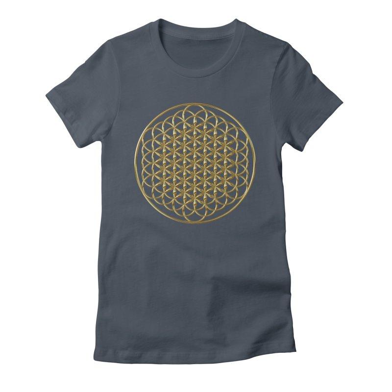 Extended Flower of Life Gold Women's T-Shirt by diamondheart's Artist Shop