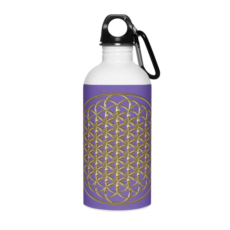Extended Flower of Life Gold Accessories Water Bottle by diamondheart's Artist Shop