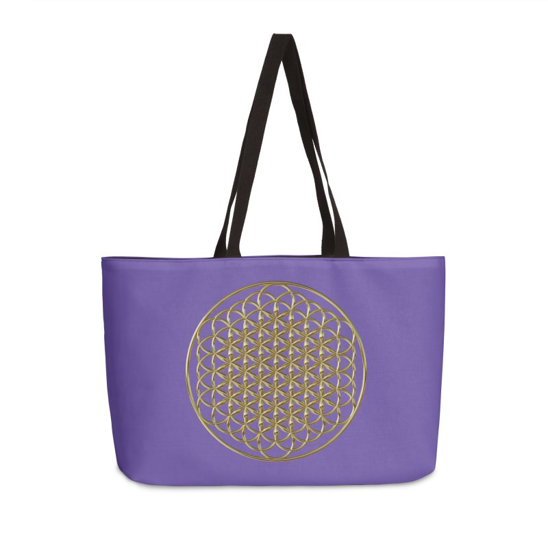 Extended Flower of Life Gold Accessories Weekender Bag Bag by diamondheart's Artist Shop