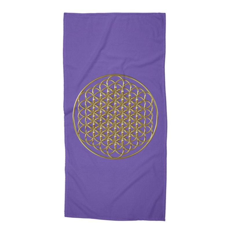 Extended Flower of Life Gold Accessories Beach Towel by diamondheart's Artist Shop