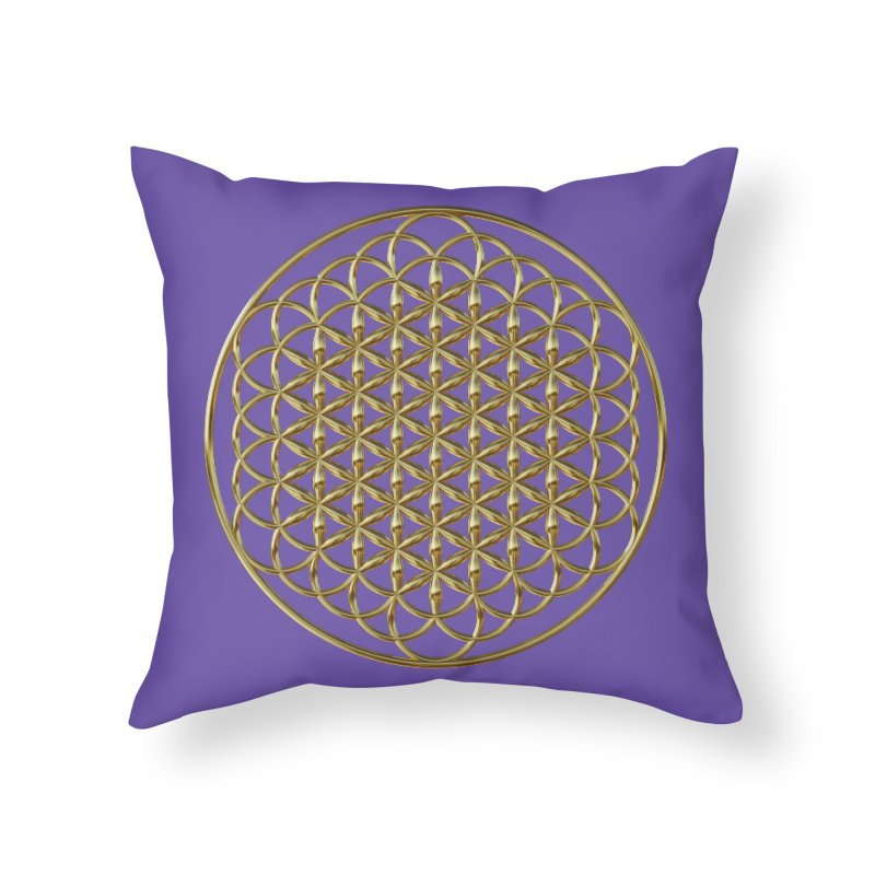 Extended Flower of Life Gold Home Throw Pillow by diamondheart's Artist Shop