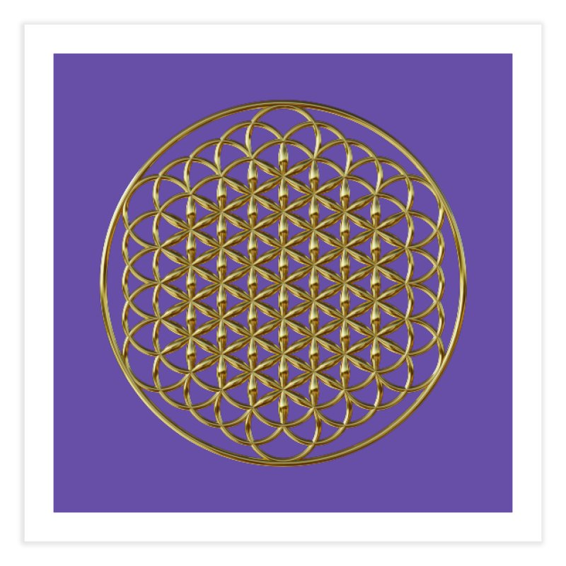Extended Flower of Life Gold Home Fine Art Print by diamondheart's Artist Shop