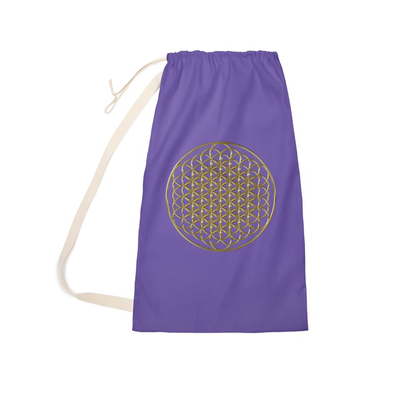 Extended Flower of Life Gold Accessories Bag by diamondheart's Artist Shop