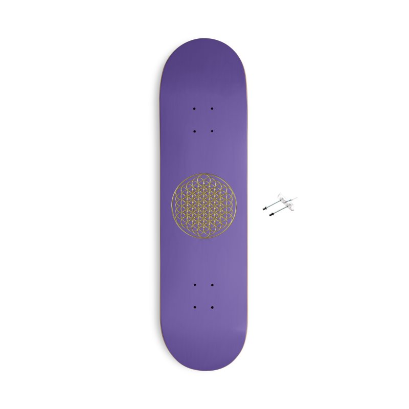 Extended Flower of Life Gold Accessories Skateboard by diamondheart's Artist Shop